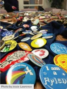 Betty Peterson protest button collection (photo by Jessie Lawrence)