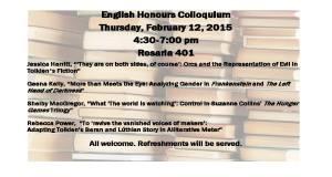 English Honours Colloquium 2015 poster