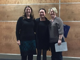Charlotte Kiddell (centre) winner of the 2016 library essay prize