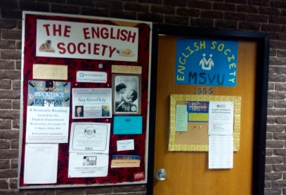English Society bulletin board and room, Seton 555