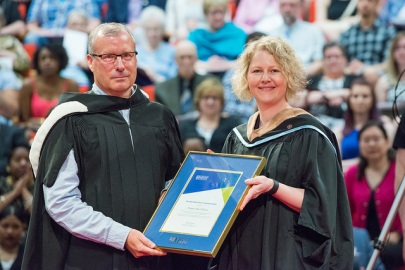 David Wilson receiving teaching award, Convocation 2017