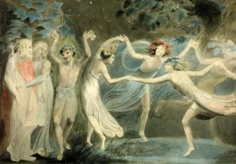 Oberon, Titania and Puk with Fairies Dancing by William Blake