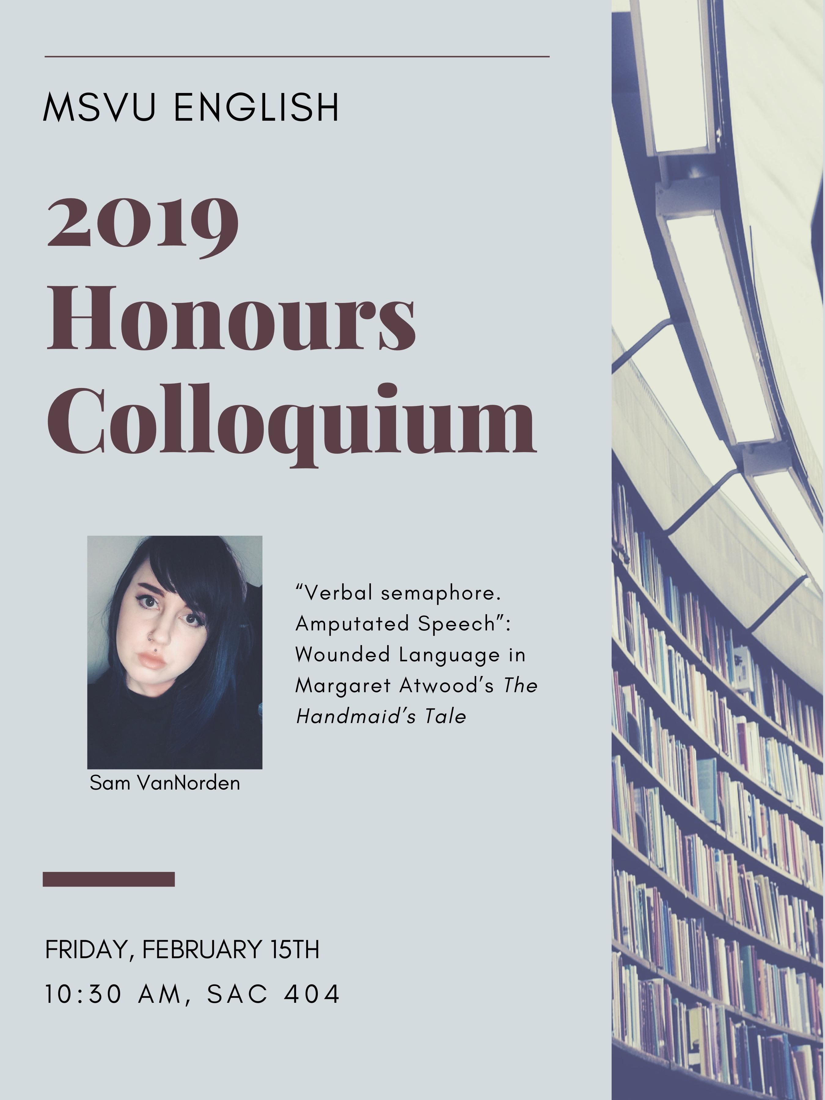 2019 Honours Colloquium Sam VanNorden