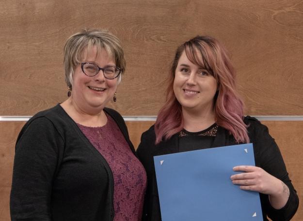 2019 Student Awards. Samantha VanNorden with Dr. Karen Macfarlane