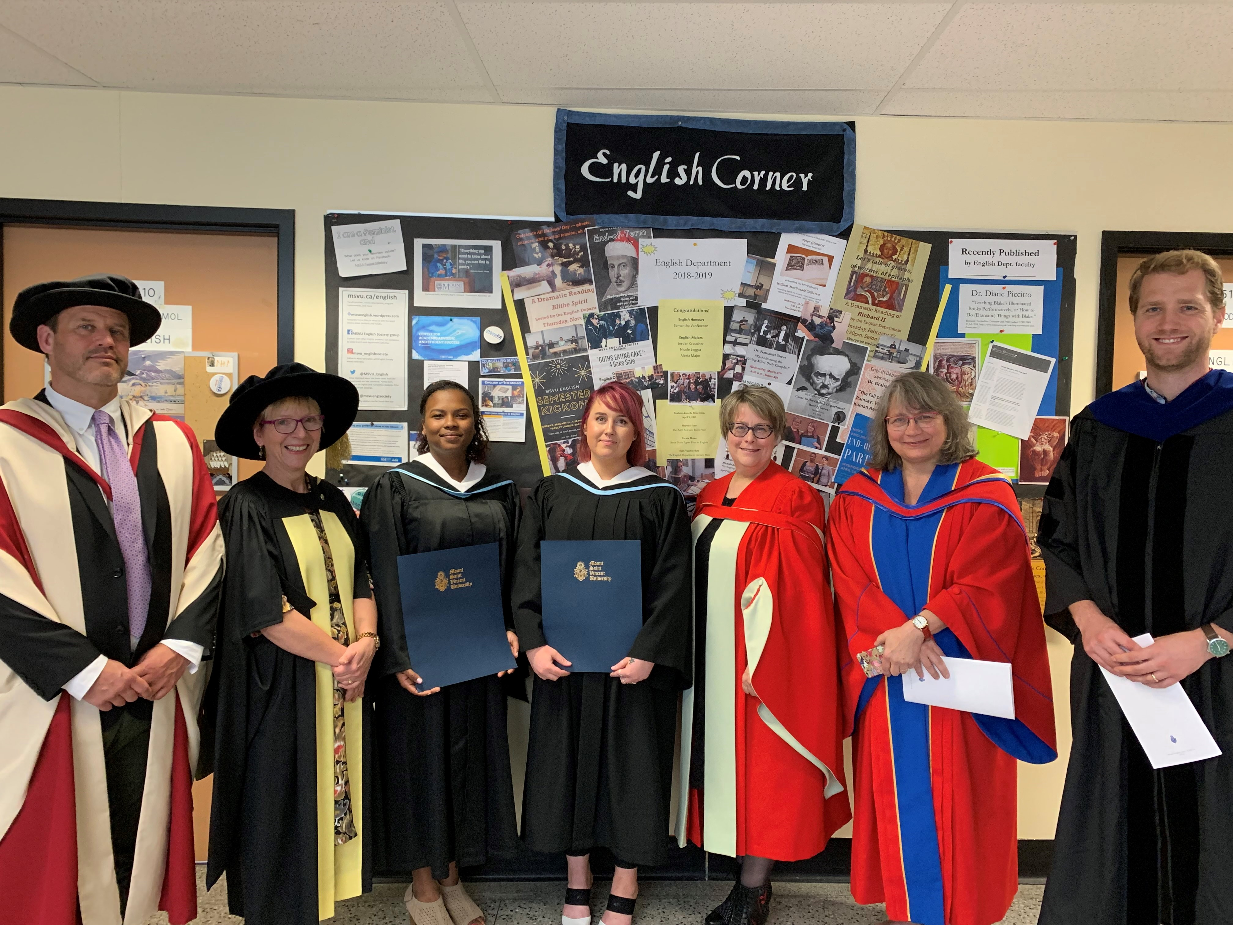 Some of the English faculty and students attending May Convocation, 2019